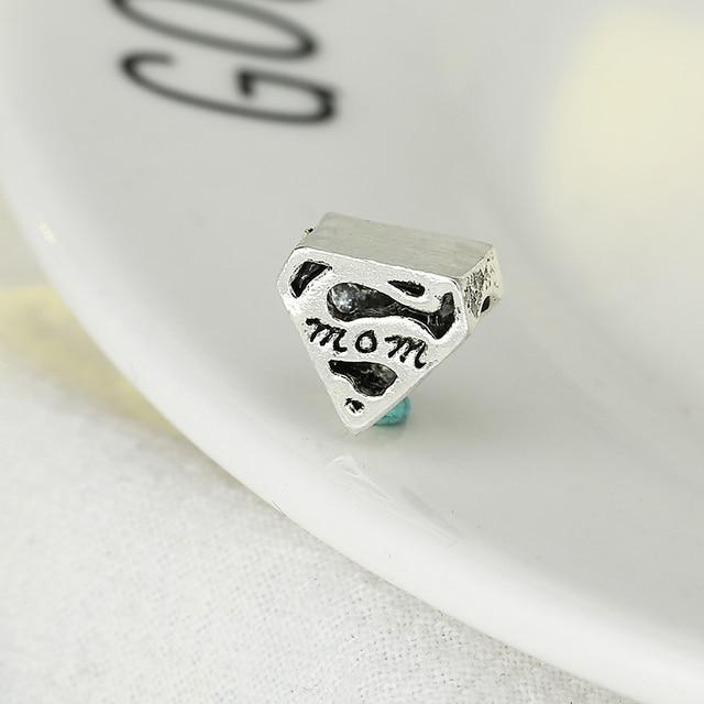 TOGORY 2Pcs/lot Silver Color Beads Charm European Silver Mom Heart-shaped Rhinestones Charm Bead Fit Pandora Bracelet Gift