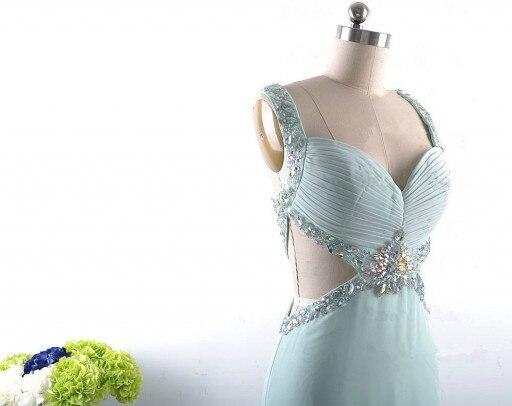 Élégant mode robe de bal a-ligne perles cristaux livraison gratuite Elie Saab longue robe de bal robe de soirée robes Occasion - 3