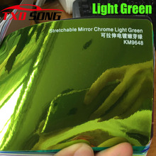 New Arrival High stretchable mirror light green Chrome Mirror flexible Vinyl Wrap Sheet Roll Film Car Sticker Decal Sheet