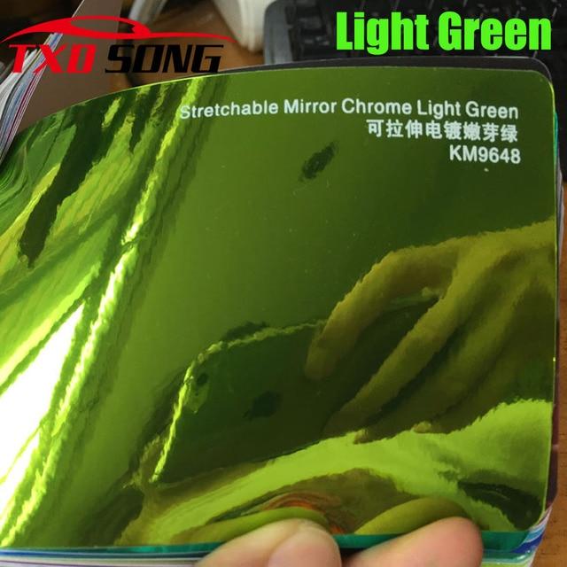 New Arrival High stretchable mirror light green Chrome Mirror flexible Vinyl Wrap Sheet Roll Film Car Sticker Decal Sheet