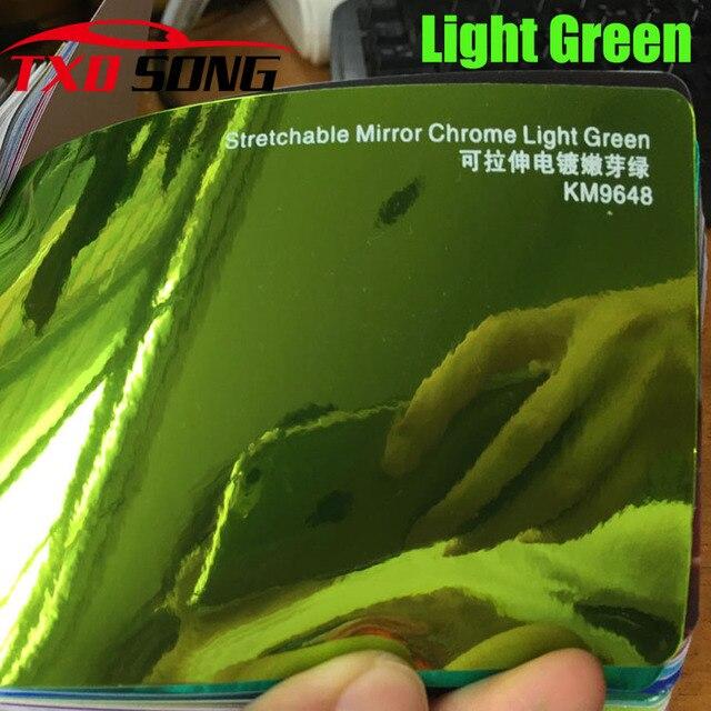 Nueva llegada alta espejo extensible luz verde cromo espejo flexible vinilo envoltura hoja rollo película coche pegatina hoja