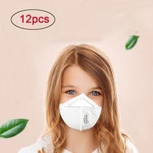 12 шт. белые m-образные не запутывающиеся ремни маски для лица N95 сажевые респираторные маски с клапаном дети PM2.5 Пылезащитная Маска 4