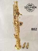 Selmer 802 Soprano Saxophone B Flat Electrophoresis Gold Top Musical Instruments Sax Soprano Professional Grade Free