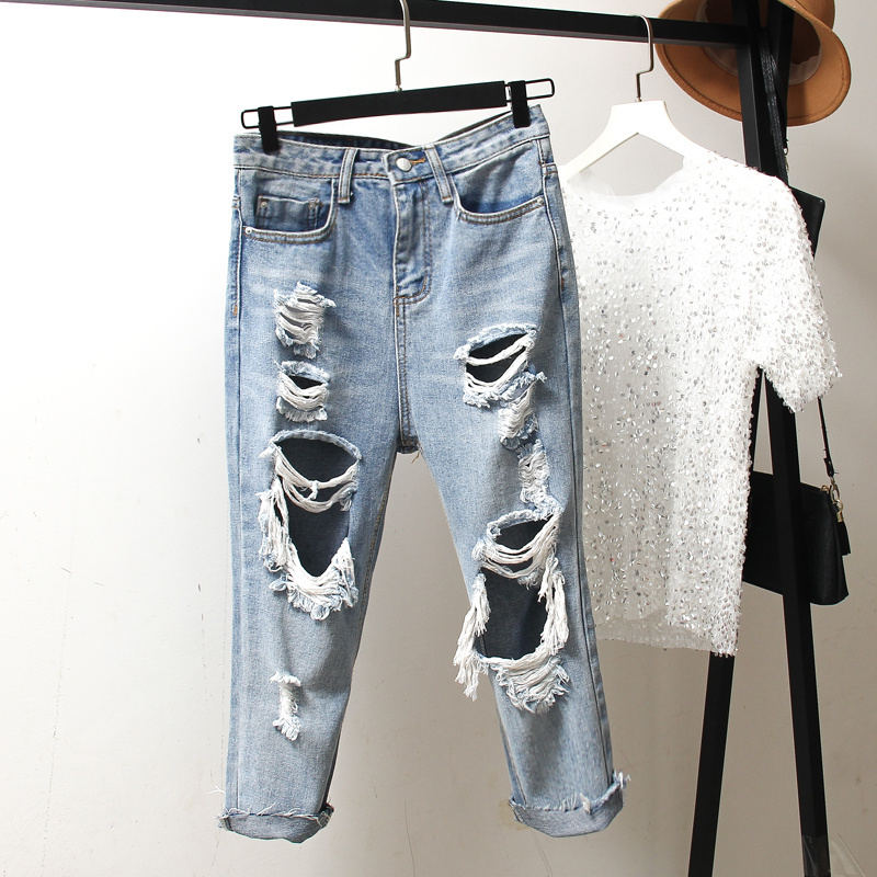 Vintage Ripped   Jeans   For Women Hole Casual Harem Pants Boyfriend   Jeans   Femme Streetwear Plus Size High Waist   Jeans   Mujer Q1284