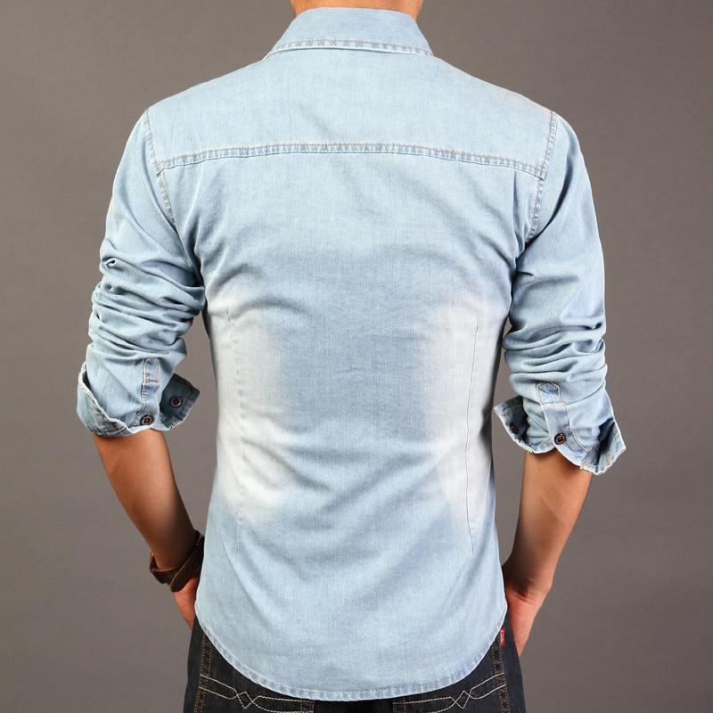 9c5a97bd8 2015 Slim Retro Vintage Denim Shirts Cowboy Cotton Men Shirt Casual Jeans  Camisa