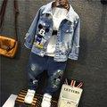 2016 новые Летние Девушки Дети Мультфильм моды случайные джинсовые куртки пальто комфортно милый ребенок Одежда Детей Одежда 20 Вт