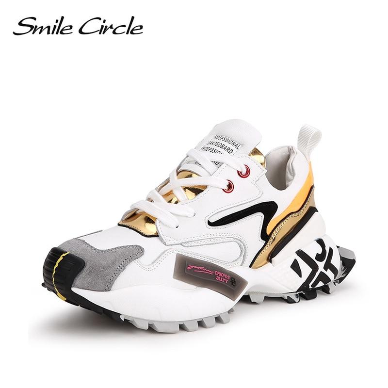 Glimlach Cirkel Vrouwen Sneakers Platte Platform schoenen Echt Leer Lace up toevallige Dames sneaker 2019-in Sneakers voor vrouwen van Schoenen op  Groep 1