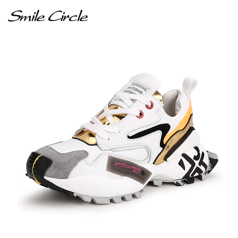 Smile Circle Women Sneakers Flat Platform Shoes Genuine Leather Lace-up Casual Ladies Sneaker 2019