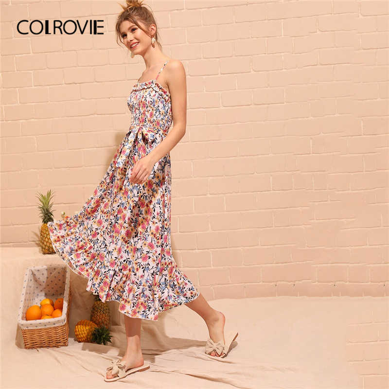 COLROVIE цветочным принтом Цветочный принт гофрированная оборками и поясом в стиле «бохо платье-комбинация Для женщин 2019 летние каникулы, отпуск расклешенные Макси платья