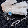 8 TEMPORADAS de La Moda Hollow Luna Collar AB Color de Cristal Estrella de La Astilla Plateó el Collar Caliente de la Joyería Hecha A Mano