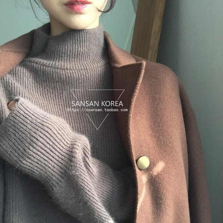 Autumn Winter High Quality Half High Collar Thickening Hedging Cashmere Sweater Loose Retro Slits Wool New Fashion Women Sweater