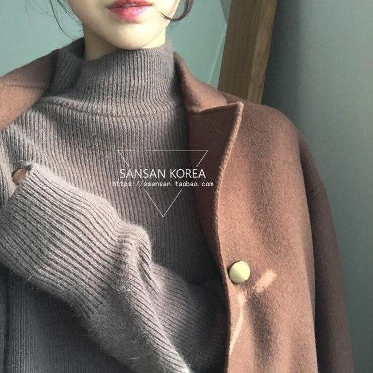 Automne hiver haute qualité demi col haut épaississement couverture cachemire pull lâche rétro fentes laine nouvelle mode femmes pull