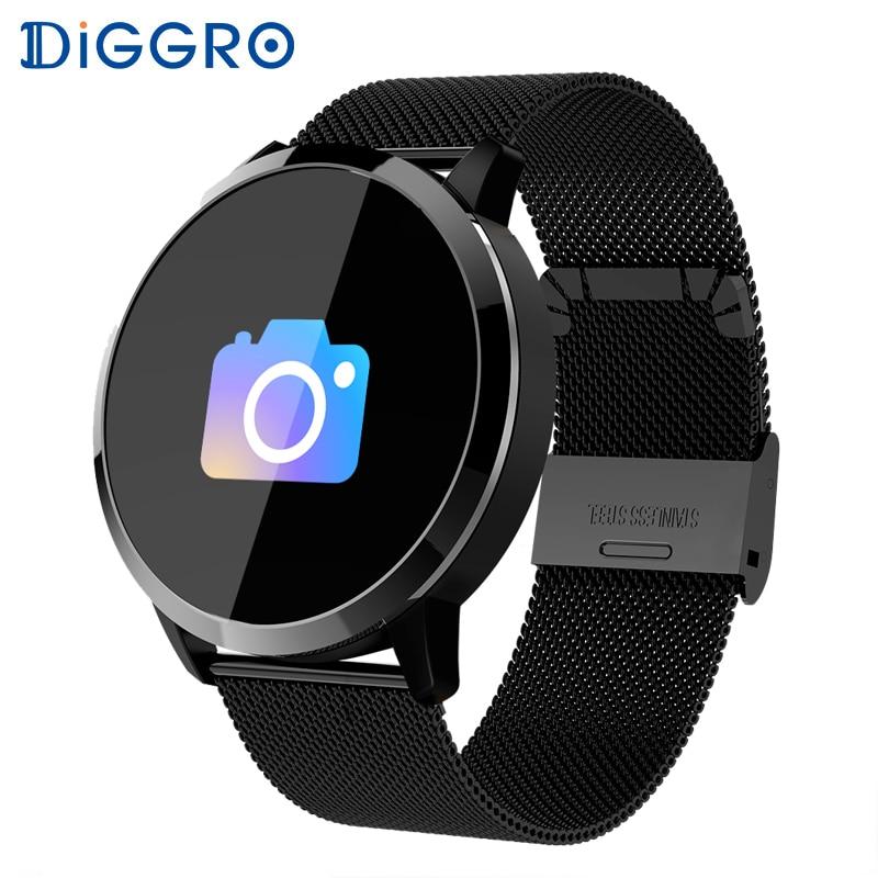 Diggro Q8 Relógio Inteligente Tela Colorida OLED À Prova D' Água Heart Rate Monitor de rastreador De Fitness mulheres Moda Smartwatch para Android iOS