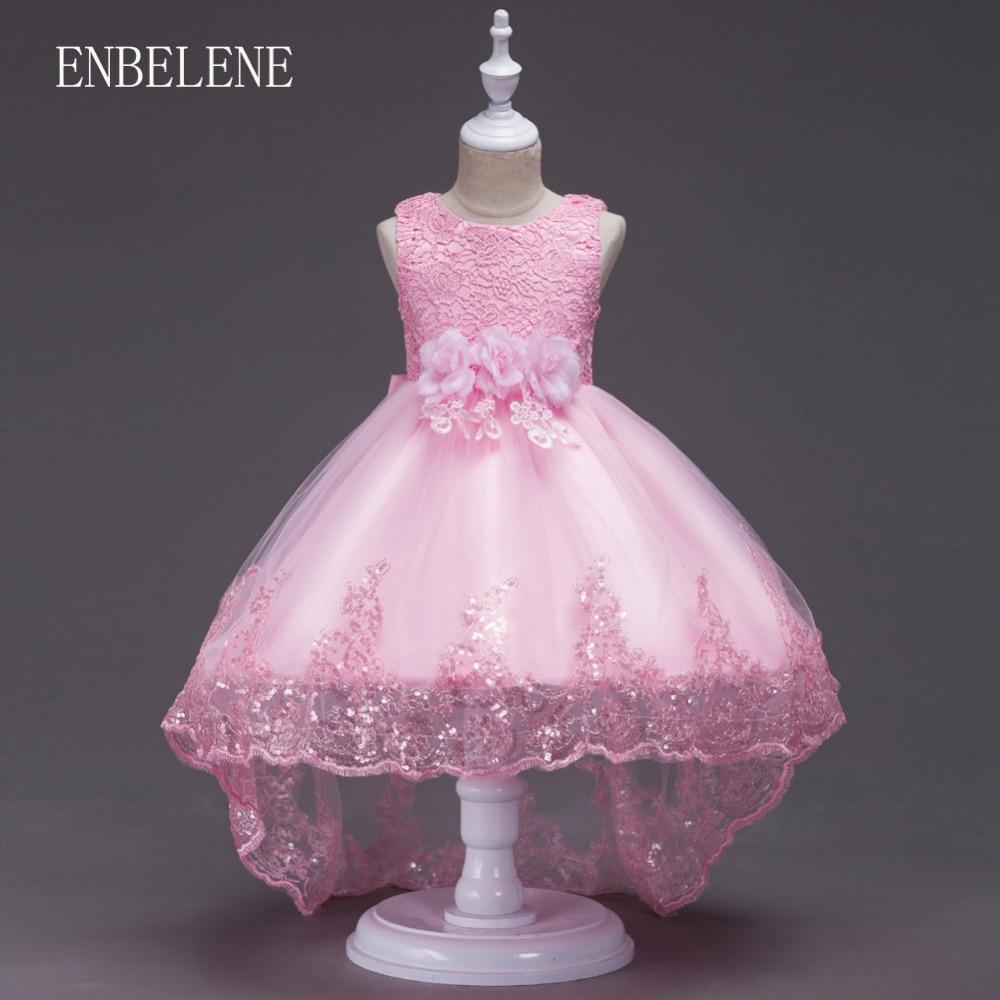 2018 niñas elegante princesa tren vestido de encaje de ganchillo ...