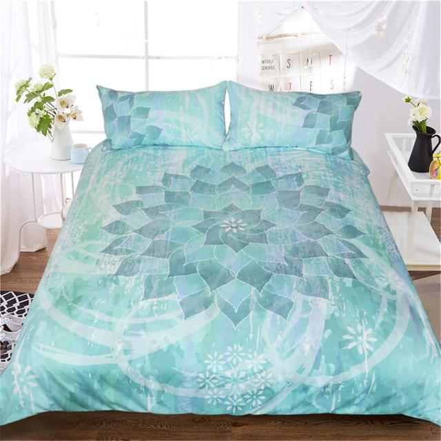 CAMMITEVER Lotus Mandala Print Bedding Set Queen Size Floral Pattern Duvet Cover Bohemian Bedclothes Lotus Bed Set
