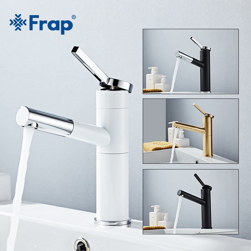 Frap Pull Out Bathroom Basin Sink Faucet Single Handle Hot and Cold Water Crane Vessel Sink