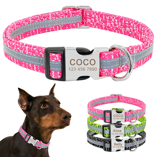 Dog Collar Personalized Reflective Dog Collars Custom Engraved Name Tag Collar Anti-lost Nylon Pet Collars For Medium Large Dogs 1