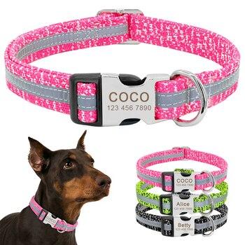 Collar de perro personalizado reflectante perro personalizado grabado nombre etiqueta Collar Anti-Pérdida collares para mascotas de nilón para perros medianos grandes
