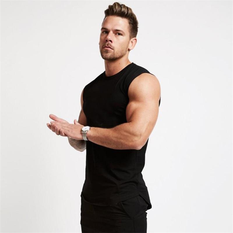 Marke Fitness-studios Kleidung Fitness Männer Einfarbig Tank Top Herren Bodybuilding Stringer Tank Tops Workout Singulett Ärmelloses Shirt