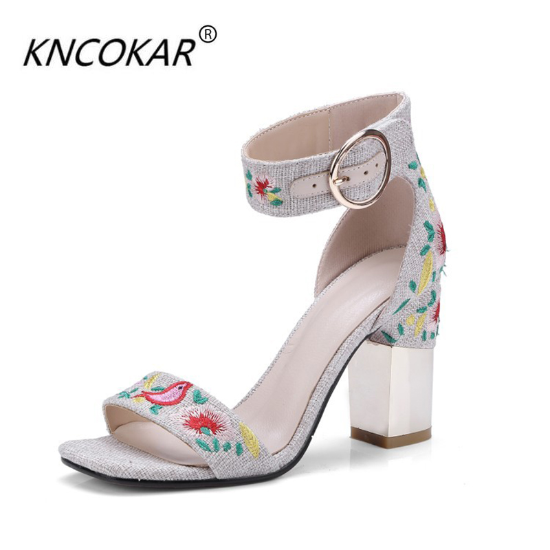 2018 New Arrival Kncokar Basic Super High (8cm-up) Square Heel Canvas Peep Toe Casual Buckle Strap Rubber Rubber Summer Fashion2018 New Arrival Kncokar Basic Super High (8cm-up) Square Heel Canvas Peep Toe Casual Buckle Strap Rubber Rubber Summer Fashion