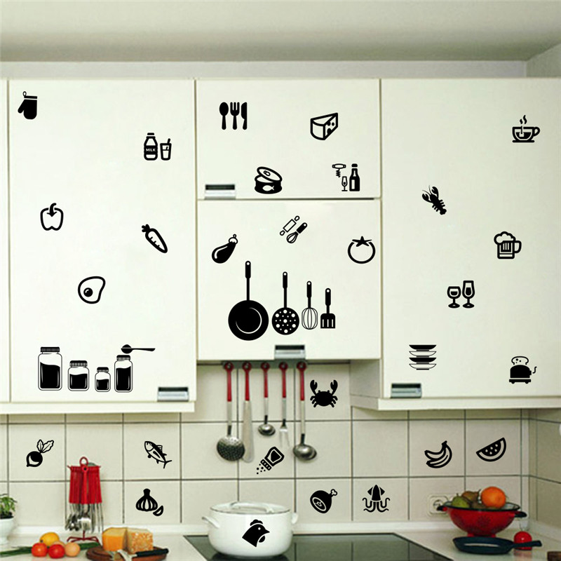 2018 Diy kitchenware food clothing cups tableware wall stickers kitchen dining room home decor vinyl wall decals black wallpaper