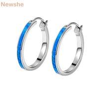 Newshe Australia Blue Opal Solid 925 Sterling Silver Hoop Earrings Classic Jewelry For Women Gift ZE00270