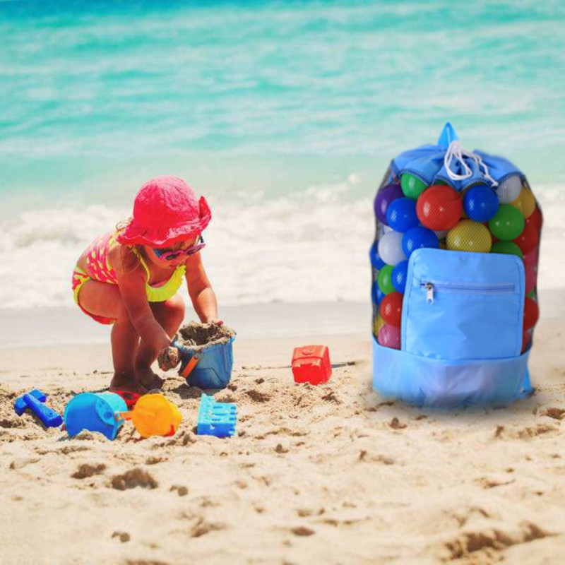 Storage Bags Large Mesh Beach Storage Organizer Tote Durable Folding Sand Drawstring Beach Backpack Swim Pool Toys Storage Bags