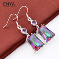 ENYA New Fashion Jewelry Rainbow Fire Mystic Synthetic Topaz Silver Plated Drop Earring For Women Best Holiday Gift E0022