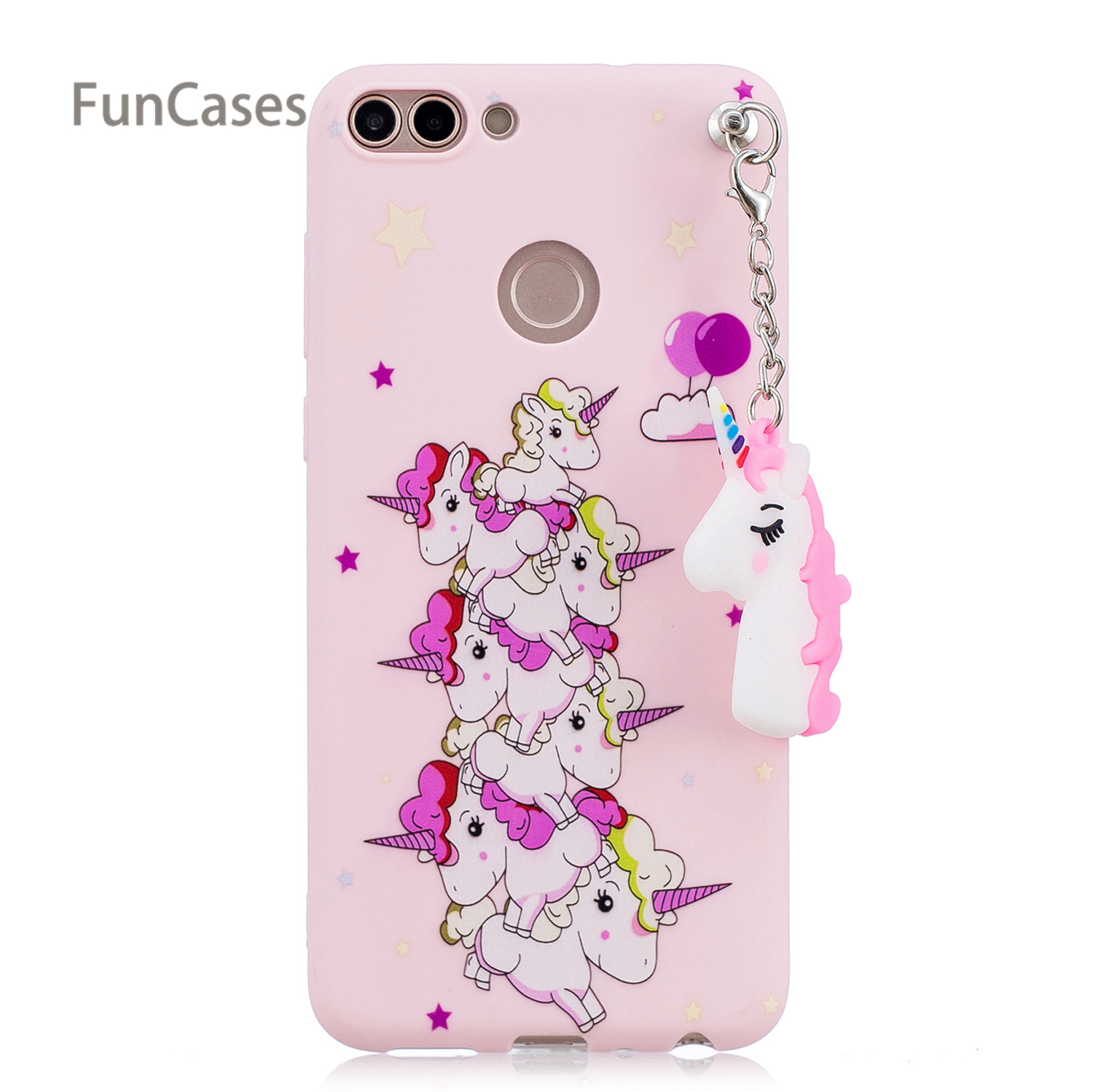 3D Pendant Phone Case sFor Celular Huawei Enjoy 7S Soft TPU Phone Case Accessory Jewelled Phone Case For Huawei Ascend P Smart