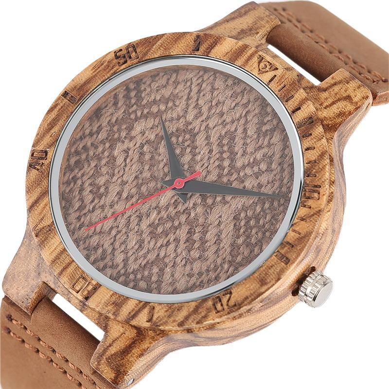 Vintage Bamboo Quartz Watch Unisex Weave knit Sweater Pattern Sport Men Women Wristwatches Wood relogio masculino Christmas Gift