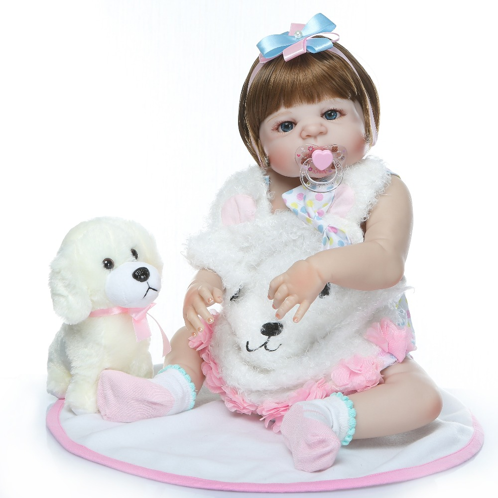 NPK 23 นิ้ว bebe ตุ๊กตาเด็กทารก reborn สมจริงซิลิโคนเต็มรูปแบบกันน้ำ lol boneca reborn corpo de ซิลิโคน menina-ใน ตุ๊กตา จาก ของเล่นและงานอดิเรก บน   2