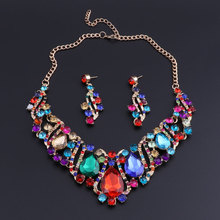 OEOEOS Crystal Statement Necklace & Earrings Sets for Brides Bridal Jewelry sets Wedding Costume Jewellery Accessories Women