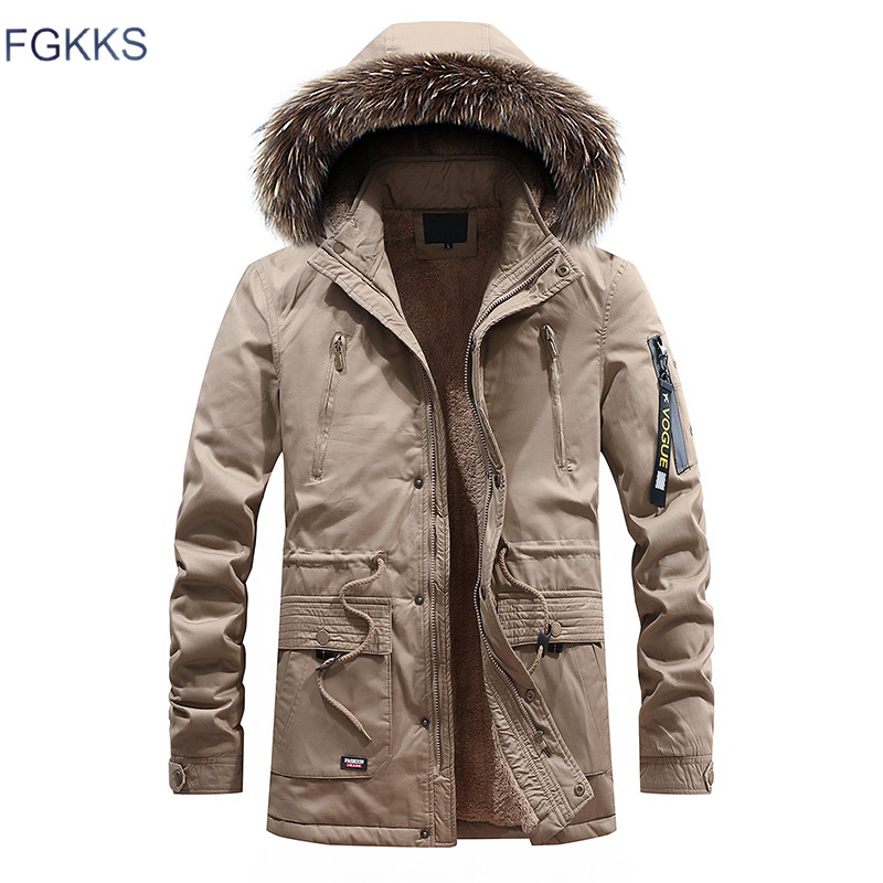 FGKKS 2018 Männer Warme Parkas Mantel Winter Jacken Mäntel Mit Kapuze Casual Herren Parka Outwear Winddicht Mantel Männlichen Parka