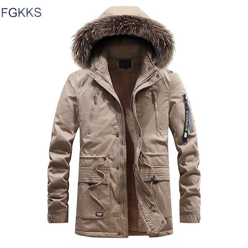 FGKKS Men Warm   Parkas   Coat Winter Jackets Coats Hooded Casual Men's   Parka   Outwear Windproof Overcoat Male   Parka