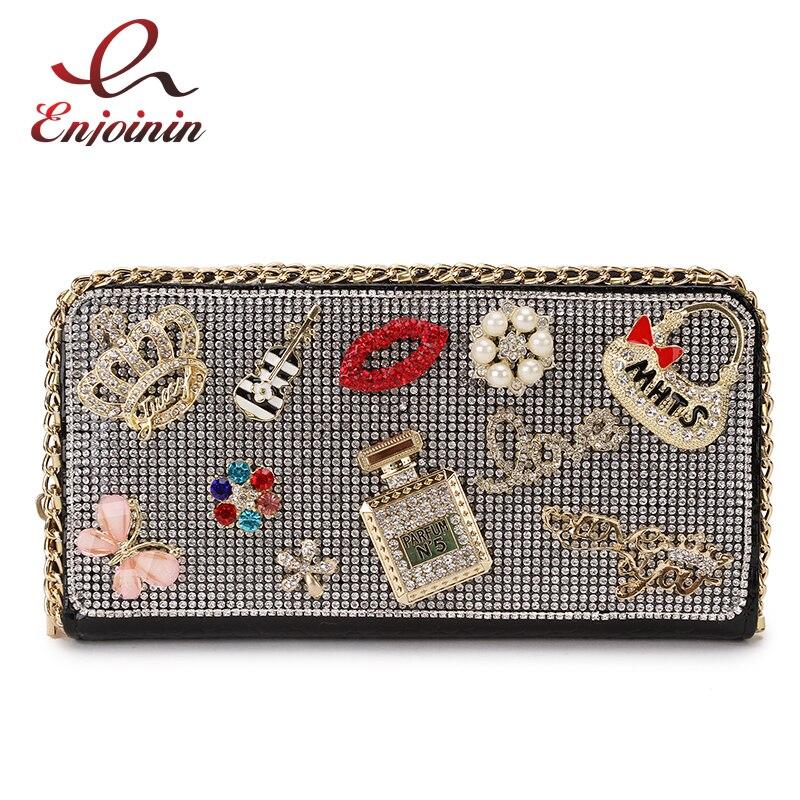 Luxury Fashion Diamond Flower Lipstick Badge Ladies Long Clutch Wallet Large Wallets Female Purse Lady Purses Pocket Card Holder