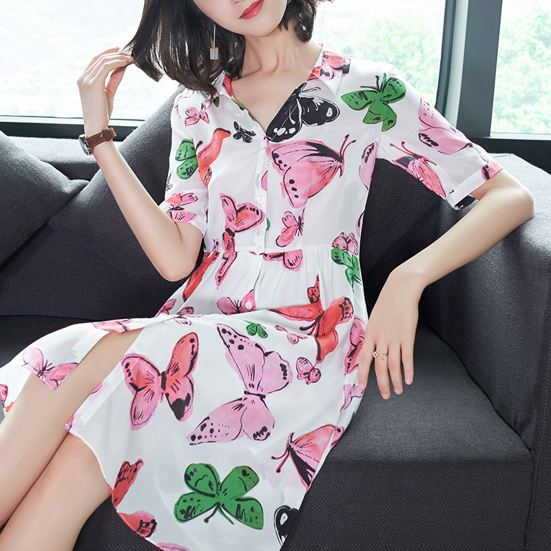 Vestidos Europe Ukraine Summer Dress Women 2018 Lapel Single-breasted Short Sleeves Printed Silk Dress Chiffon Plus Size