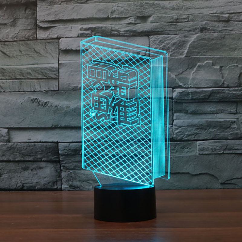 Creative 7 Color Changing Study Decor Light Fixture 3D Books Modelling Table Lamp Led Visual Atmosphere Touch Switch Night Light