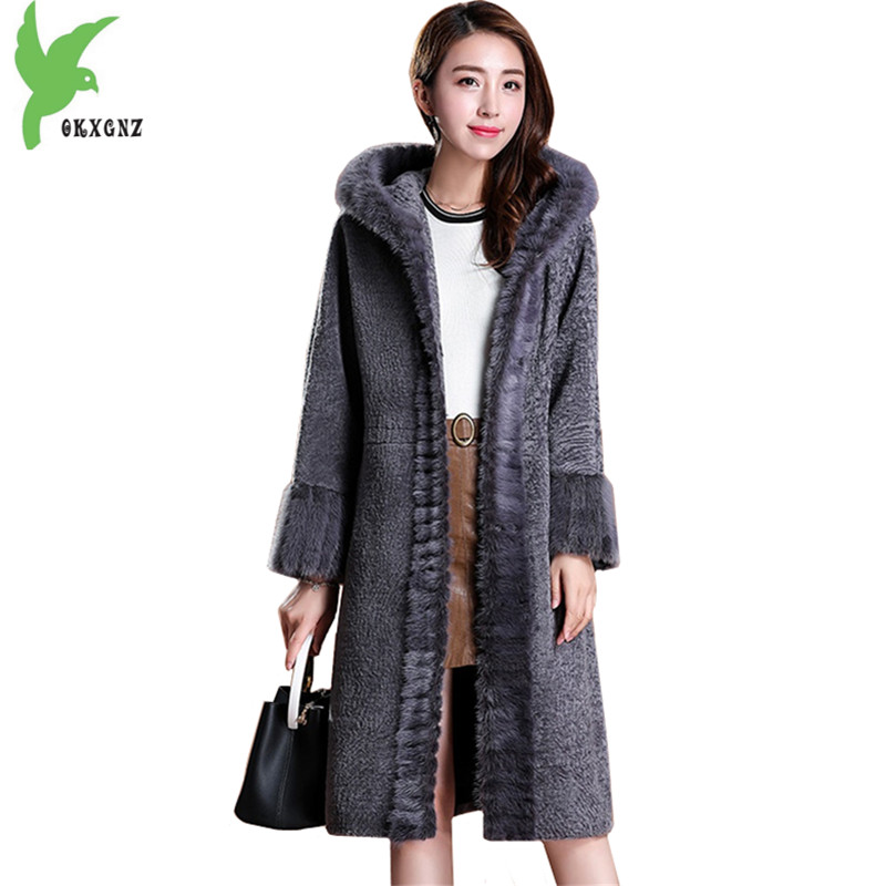 High quality Wool fur Jacket Female Winter Hooded Coats New fashion Mink Fur collar Jacket Plus size Women Slim Outerwear OKXGNZ