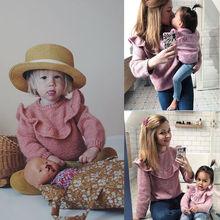 От 0 до 3 лет свитер для новорожденных; зимняя одежда для маленьких девочек; Детский Повседневный свитер с кружевом; топы; зимний теплый вязаный пуловер; Одинаковая одежда для сестер