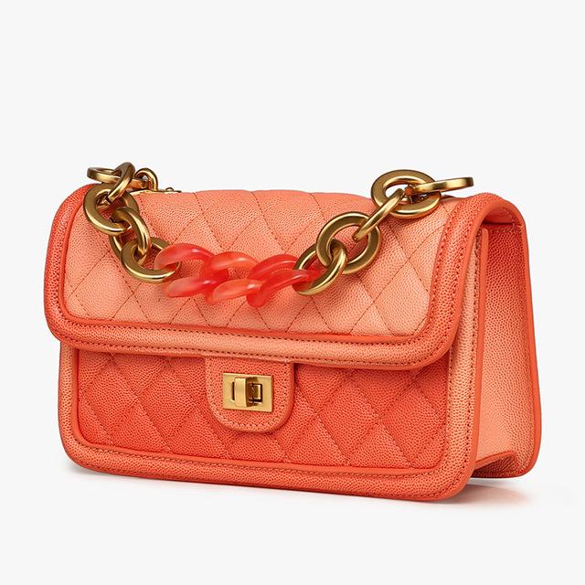 2019 Spring Women Brand Geniune Leather Fashion Diamond Lattica Blue Chains Handbags Shoulder Bags Ladies Hand Bags Lovely