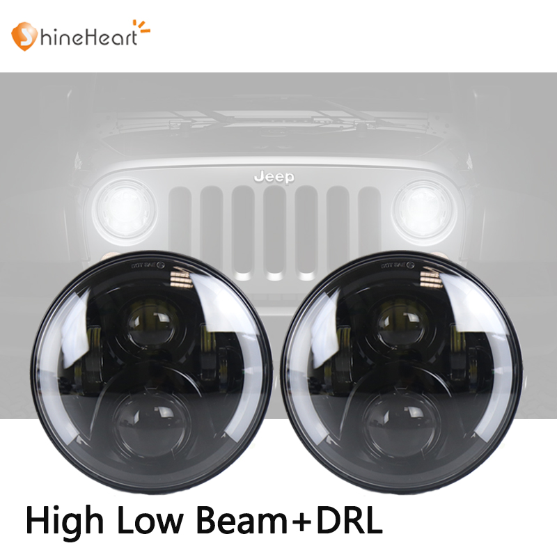 7 Inch 100W LED Headlight 12V-24V Wrangler Headlight Off-road Light with Hi/lo beam and DRL for Jeeps Hummer Harley Motorcycles цена