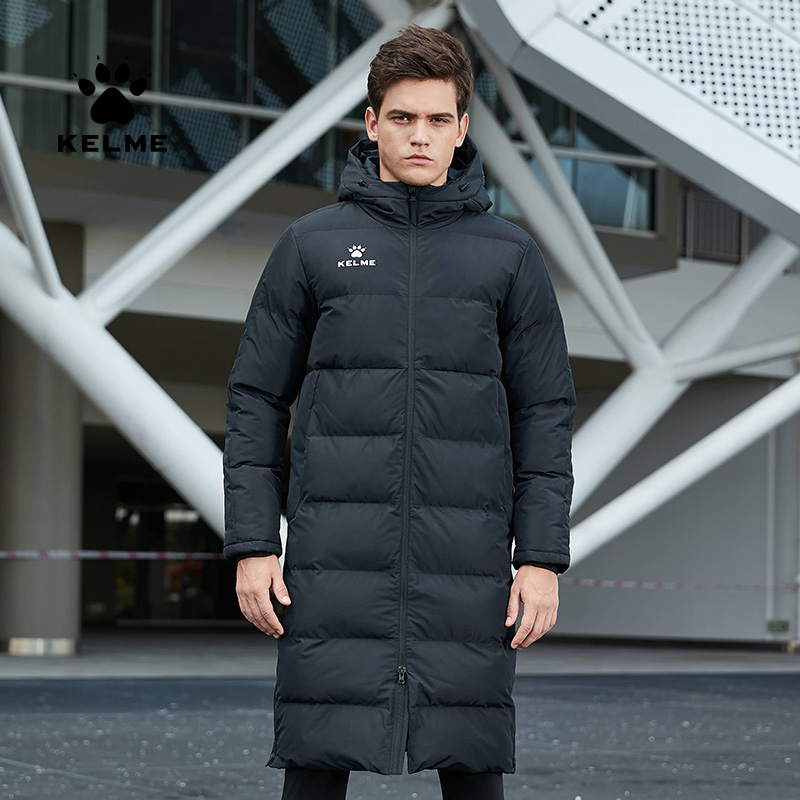 KELME Men Winter Jacket Long Solid Sports Training Coat Male Overcoat Outrwear Warm Cotton Padded Winter Coat Men Women 3881406