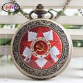 Free shipping New Soviet Sickle hammer Style Quartz Pocket Watch Men women Vintage Bronze Pendant DS097