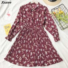 2018 Spring Summer Chiffon Print Dress Casual Cute Women floral Long Bowknot Dresses Sleeve Party Xnxee