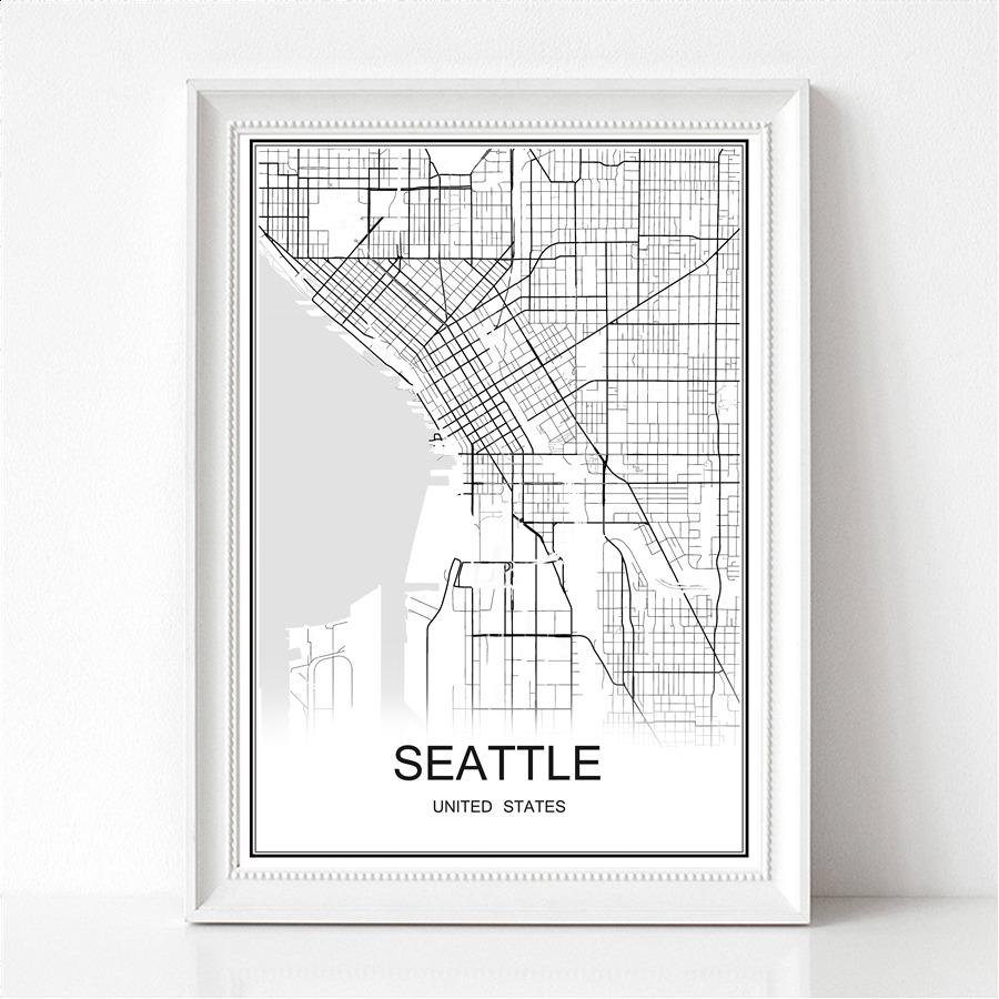 SEATTLE USA World City Map Print Poster Abstract Coated Paper Bar Cafe Pub Living Room Home