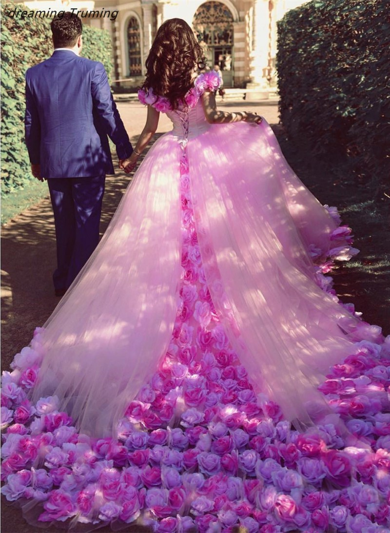 US $197 0  2019 Pink Quinceanera Dresses With 3D Floral Flowers Dresses For  Sweet 16 Princess Tulle Masquerade Ball Gowns Prom Dress-in Quinceanera