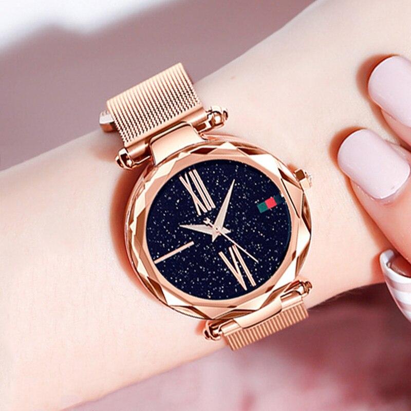 Zegarek damski Starry Sky frauen Uhren Dropshipping Magnetische Edelstahl Mesh-Armband Damen Armbanduhren relogio feminino