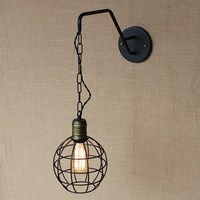 new design antique retro black metal ball wall lamps with long chain for workroom bedside bedroom wall Lights