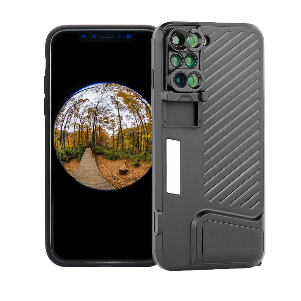 For iPhone X 10 Dual Camera Lens 6 in 1 Fisheye Wide Angle Macro Lens For iPhone 7 8 plus Telescope Zoom Lens + Case