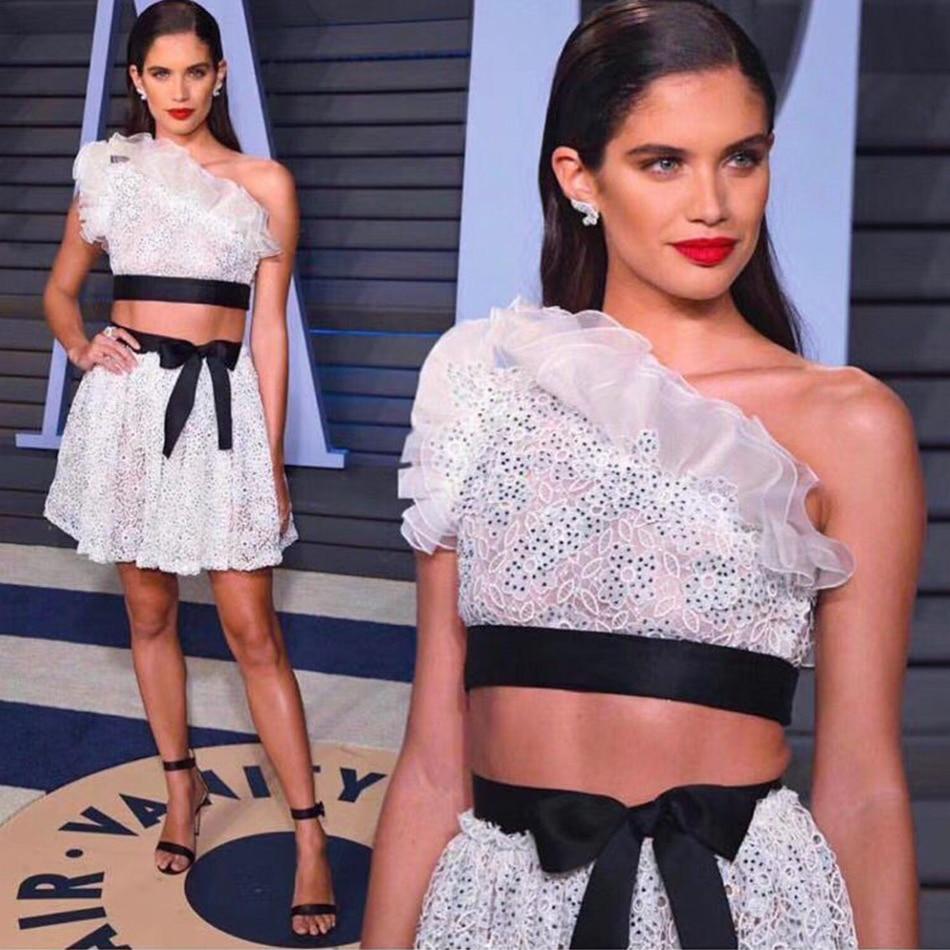 ADYCE 2019 Новые облегающие бандажные женские комплекты сексуальные 2 шт белые оборки на одно плечо комплект Vestido знаменитости вечернее платье